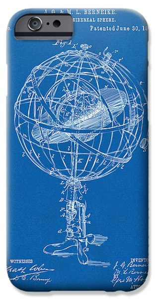 Constellations iPhone Cases - 1885 Terrestro Sidereal Sphere Patent Artwork - Blueprint iPhone Case by Nikki Marie Smith