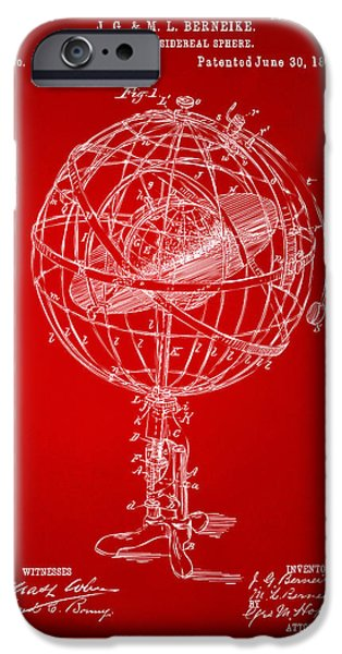 Constellations iPhone Cases - 1885 Terrestro Sidereal Sphere Patent Artwork - Red iPhone Case by Nikki Marie Smith