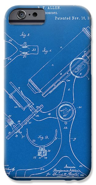 Labs Digital iPhone Cases - 1886 Microscope Patent Artwork - Blueprint iPhone Case by Nikki Marie Smith