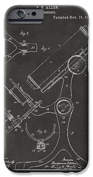 Labs Digital iPhone Cases - 1886 Microscope Patent Artwork - Gray iPhone Case by Nikki Marie Smith