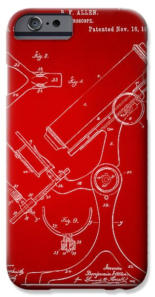 Labs Digital iPhone Cases - 1886 Microscope Patent Artwork - Red iPhone Case by Nikki Marie Smith