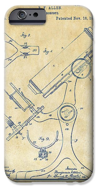 Labs Digital iPhone Cases - 1886 Microscope Patent Artwork - Vintage iPhone Case by Nikki Marie Smith
