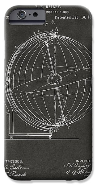 Constellations iPhone Cases - 1886 Terrestro Sidereal Globe Patent 2 Artwork - Gray iPhone Case by Nikki Marie Smith