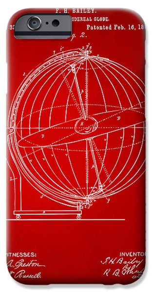 Constellations iPhone Cases - 1886 Terrestro Sidereal Globe Patent 2 Artwork - Red iPhone Case by Nikki Marie Smith