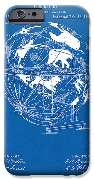 Constellations iPhone Cases - 1886 Terrestro Sidereal Globe Patent Artwork - Blueprint iPhone Case by Nikki Marie Smith