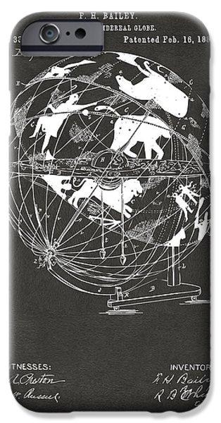 Constellations iPhone Cases - 1886 Terrestro Sidereal Globe Patent Artwork - Gray iPhone Case by Nikki Marie Smith