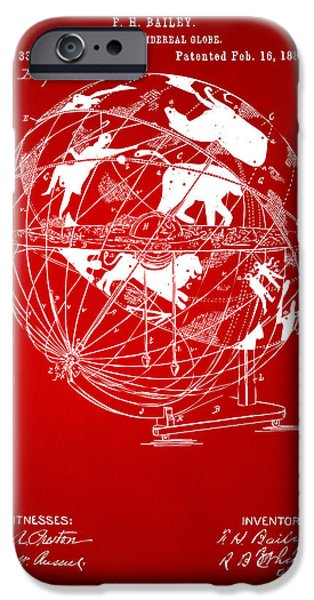 Constellations iPhone Cases - 1886 Terrestro Sidereal Globe Patent Artwork - Red iPhone Case by Nikki Marie Smith