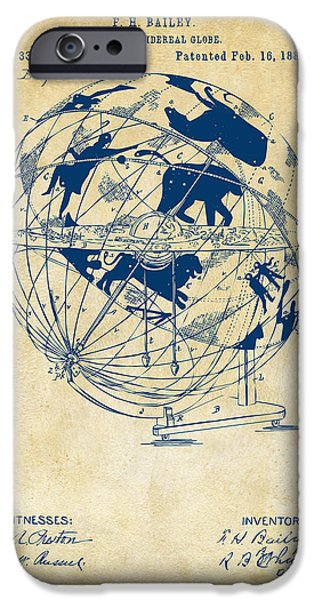 Constellations iPhone Cases - 1886 Terrestro Sidereal Globe Patent Artwork - Vintage iPhone Case by Nikki Marie Smith