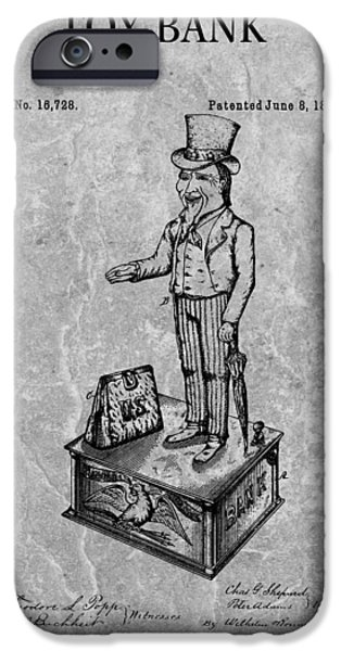 Finance Drawings iPhone Cases - 1886 Toy Bank Patent Charcoal iPhone Case by Dan Sproul