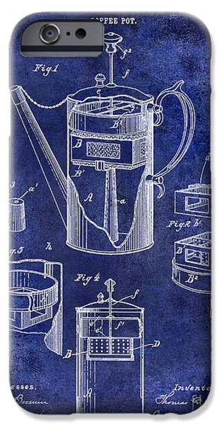 1900 iPhone Cases - 1888 Coffee Pot Patent Drawing Blue iPhone Case by Jon Neidert