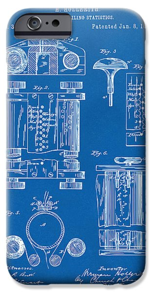 Technology iPhone Cases - 1889 First Computer Patent Blueprint iPhone Case by Nikki Marie Smith