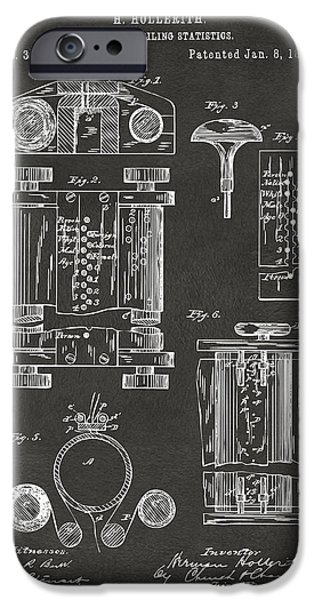 Cave Digital iPhone Cases - 1889 First Computer Patent Gray iPhone Case by Nikki Marie Smith