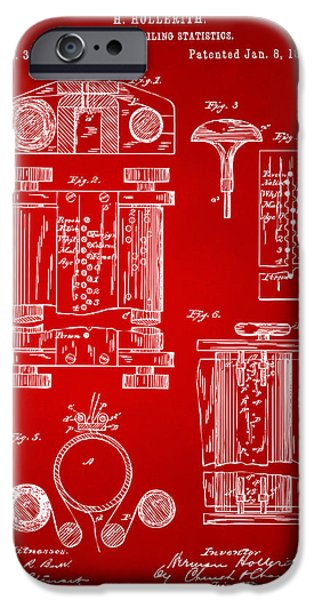 Punch Digital iPhone Cases - 1889 First Computer Patent Red iPhone Case by Nikki Marie Smith