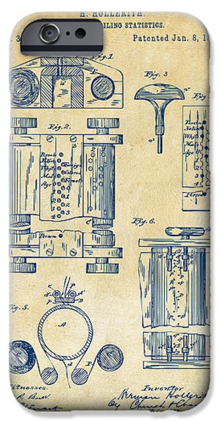 Cave Digital iPhone Cases - 1889 First Computer Patent Vintage iPhone Case by Nikki Marie Smith