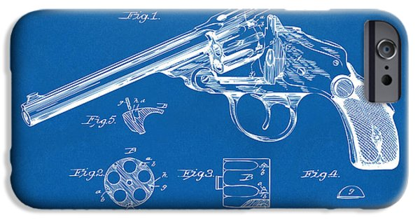X-ray iPhone Cases - 1889 Wesson Revolver Patent Minimal - Blueprint iPhone Case by Nikki Marie Smith