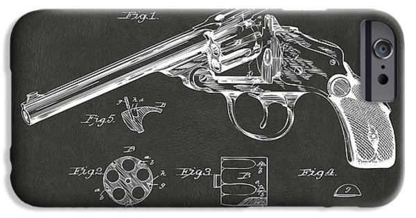 X-ray iPhone Cases - 1889 Wesson Revolver Patent Minimal - Gray iPhone Case by Nikki Marie Smith