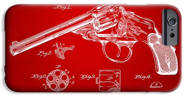 X-ray iPhone Cases - 1889 Wesson Revolver Patent Minimal - Red iPhone Case by Nikki Marie Smith