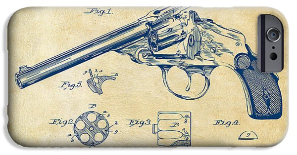 X-ray iPhone Cases - 1889 Wesson Revolver Patent Minimal - Vintage iPhone Case by Nikki Marie Smith