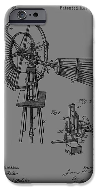 Development Mixed Media iPhone Cases - 1889 Windmill Patent iPhone Case by Dan Sproul