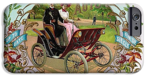 Park Scene Mixed Media iPhone Cases - 1890 Auto Vintage Art iPhone Case by Maciej Froncisz