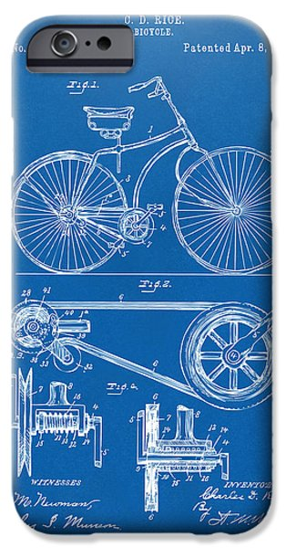 Cave Digital iPhone Cases - 1890 Bicycle Patent Artwork - Blueprint iPhone Case by Nikki Marie Smith