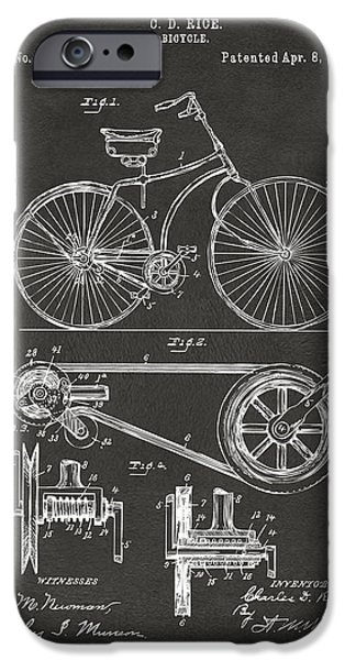 Vintage Bicycle iPhone Cases - 1890 Bicycle Patent Artwork - Gray iPhone Case by Nikki Marie Smith