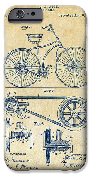 Cave Digital iPhone Cases - 1890 Bicycle Patent Artwork - Vintage iPhone Case by Nikki Marie Smith