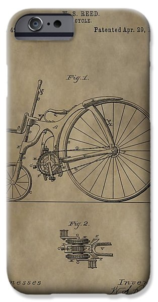 Bicycle Drawings iPhone Cases - 1890 Bicycle Patent iPhone Case by Dan Sproul