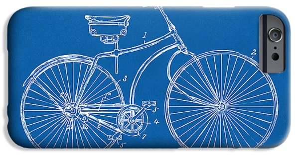 Lines Art iPhone Cases - 1890 Bicycle Patent Minimal - Blueprint iPhone Case by Nikki Marie Smith