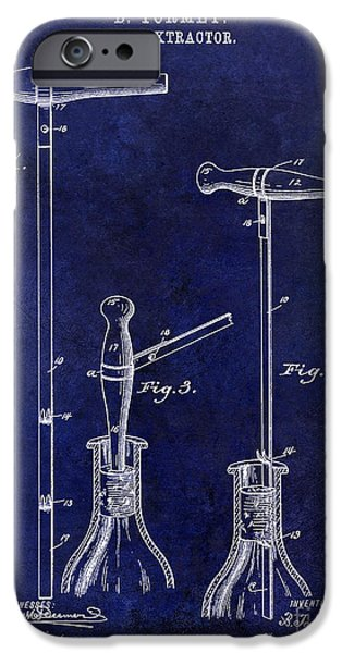 Wine Bottles iPhone Cases - 1890 Cork Extractor Patent Drawing Blue iPhone Case by Jon Neidert