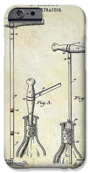 Wine Bottles iPhone Cases - 1890 Cork Extractor Patent Drawing iPhone Case by Jon Neidert
