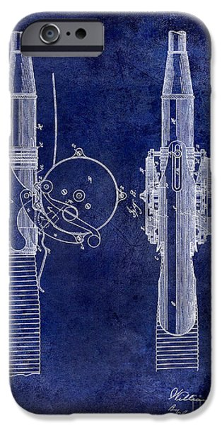 Cape Cod iPhone Cases - 1890 Fishing Reel Patent Drawing  Blue iPhone Case by Jon Neidert