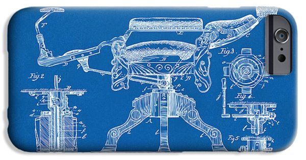 Barber iPhone Cases - 1891 Barbers Chair Patent Artwork Blueprint iPhone Case by Nikki Marie Smith