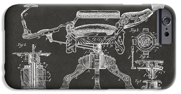 Gray Hair Digital Art iPhone Cases - 1891 Barbers Chair Patent Artwork - Gray iPhone Case by Nikki Marie Smith