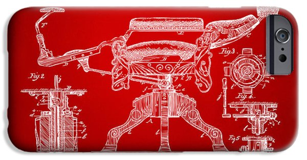 Barber iPhone Cases - 1891 Barbers Chair Patent Artwork Red iPhone Case by Nikki Marie Smith