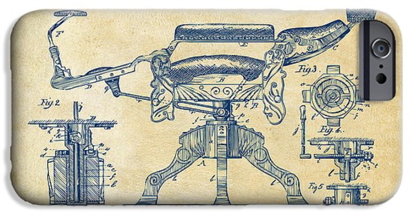 Lines Art iPhone Cases - 1891 Barbers Chair Patent Artwork Vintage iPhone Case by Nikki Marie Smith