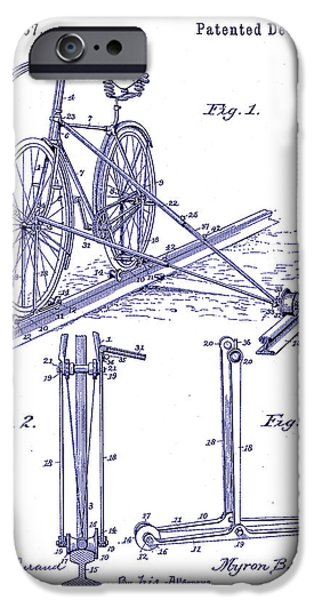 Bicycle Drawings iPhone Cases - 1891 Bicycle Patent Blueprint iPhone Case by Jon Neidert