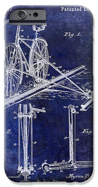 Bicycle Drawings iPhone Cases - 1891 Bicycle Patent Drawing Blue iPhone Case by Jon Neidert