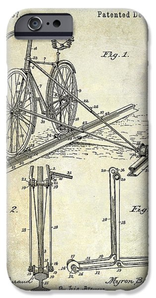 Bicycle Drawings iPhone Cases - 1891 Bicycle Patent Drawing iPhone Case by Jon Neidert