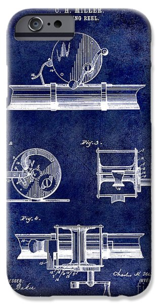 Cape Cod iPhone Cases - 1891 Fishing Reel Patent Drawing Blue iPhone Case by Jon Neidert