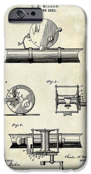 Cape Cod iPhone Cases - 1891 Fishing Reel Patent Drawing iPhone Case by Jon Neidert
