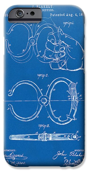 Law Enforcement iPhone Cases - 1891 Police Nippers Handcuffs Patent Artwork - Blueprint iPhone Case by Nikki Marie Smith
