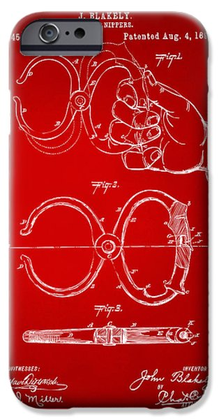 Law Enforcement iPhone Cases - 1891 Police Nippers Handcuffs Patent Artwork - Red iPhone Case by Nikki Marie Smith