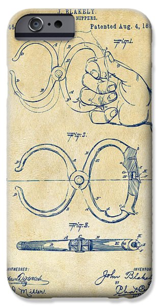 Law Enforcement iPhone Cases - 1891 Police Nippers Handcuffs Patent Artwork - Vintage iPhone Case by Nikki Marie Smith