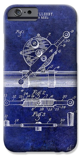 Redfish iPhone Cases - 1892 Fishing Reel Patent Drawing Blue iPhone Case by Jon Neidert