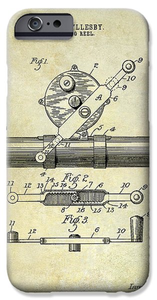 Cape Cod iPhone Cases - 1892 Fishing Reel Patent Drawing  iPhone Case by Jon Neidert