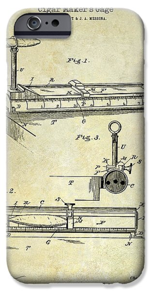 Havana iPhone Cases - 1893 Cigar Makers Gage Patent Drawing  iPhone Case by Jon Neidert
