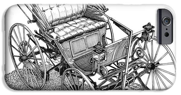 First Lady Drawings iPhone Cases - 1893 Duryea Motorwagon iPhone Case by Jack Pumphrey