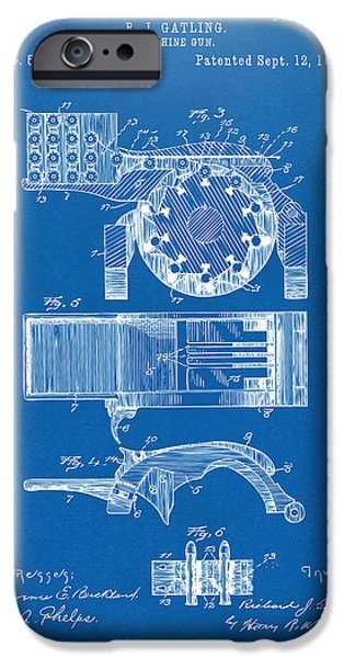 Weapon iPhone Cases - 1893 Gatling Machine Gun Feed Patent Artwork - Blueprint iPhone Case by Nikki Marie Smith