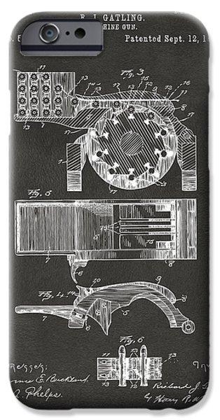 Vetran iPhone Cases - 1893 Gatling Machine Gun Feed Patent Artwork - Gray iPhone Case by Nikki Marie Smith
